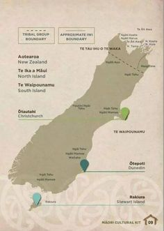 Bill ✔️ Tribes of the South Island From NZTE's Māori Cultural Kit for people wanting to do business with Māori organisations, a map showing tribal boundaries of New Zealand's Māori iwi. Map Of New Zealand, Maori Words, Maori Symbols, Maori Tribe, Nz History, Maori Patterns, Zealand Tattoo, Maori People, Maori Designs
