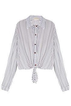CAMISA CROPPED ARAK Camisa cropped, gola de ponta, manga longa , punho fechado em botão, abotoamento frontal e barra com recorte para amarração. Composição: 100% Viscose Detalhe: 55% Linho 44% Viscose 2% Elastano