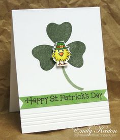 Oh this little shamrock chickie is so sweet! Colored and placed on top of a shamrock cling, he is sure to bring a smile to your little leprechaun! DIY St Patrick card