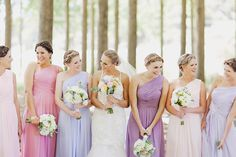 purple bridesmaids in every shade
