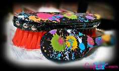 Custom horse brush set from Craft & Crown including a mane and tail paddle brush and a body brush in a splatter paint design with silver spots and glitter edges. www.facebook.com/craftandcrown