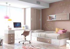 Dormitorio juvenil: Juvenil con cama nido, armario y escritorio | Dormitorio Juvenil con compacto con base de 2 contenedores y un baúl. Cuenta con arcón de puerta e