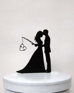 Personalized Wedding Cake Topper - Hooked on Love with personalized Initials by Plasticsmith on Etsy https://www.etsy.com/listing/210162753/personalized-wedding-cake-topper-hooked
