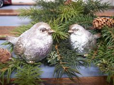 RAZ NWT Set 2 SILVER with GOLD accent Snow BIRD CHRISTMAS Figurine Decorations #Raz $14.00