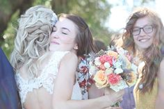 love the hair, back of dress, flowers...swoon