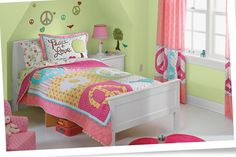 brown, blue, green, and pink girls room - Google Search
