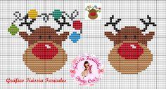 Kássia Faríades Free Cross Stitch Charts, Counted Cross Stitch Patterns, Cross Stitch Designs, Cross Stitch Embroidery, Santa Cross Stitch, Cross Stitch Cards, Cross Stitching, Cross Stitch Christmas Ornaments, Christmas Cross