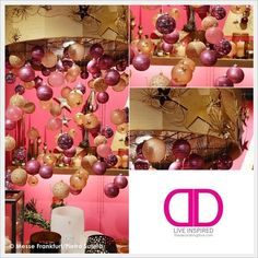 Holiday Colors: Festive metal gold chandelier of pink and gold christmas ornaments in holiday trend 2013/2014 colors. | The Decorating Diva, LLC