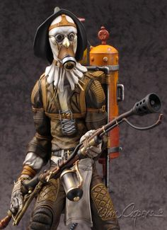 Model kit of the Scarecrow i sculpted (polymer clay, wax, epoxie) a little while back. i did the Tanks on his back and the flamethrower in zbrush. the overall concept is characters from the Wizard of Oz, as polar opposites with a steampunk flavor. Batman Art, Figure Model, Halloween Art, Dieselpunk, Zbrush, Sculpting, Action Figures, Steampunk, Artwork