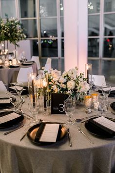 Wish Upon a Wedding Proves With Love Anything is Possible - Modern Black and White Wedding Decor with Natural Gray and Greenery - Modern Wedding Reception, Elegant Wedding, Our Wedding, Dream Wedding, Classic Wedding Decor, Traditional Wedding Decor, Wedding Couples, White Wedding Decorations, Wedding Table Settings