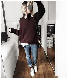 Winter warmth, chic oversized burgundy sweater with relaxed jeans