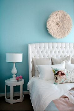 I think this shade of teal would be great in the living room