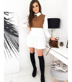 Hnedo-biele šaty Medis Must Haves, Skater Skirt, Camel, Mini Skirts, Shirt Dress, Elegant, Unique, Fitness, Composition