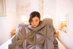 A Wool Blanket Inspired by Origami by Bianca Cheng Costanzo, working these days in Barcelona. Another great example of the enduring trends for both felted material and origami folds. #Mar2014