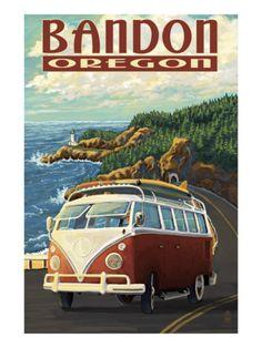 Vintage Style Travel Poster- Bandon, Oregon USA