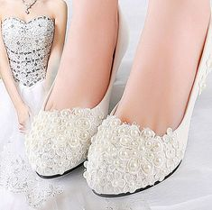 Ivory white lace pearls Wedding flats low heel wedge pump shoes Bridal size 5-12 in Clothing, Shoes & Accessories, Wedding & Formal Occasion, Bridal Shoes | eBay