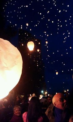 Modern day tangled scene! 20,000 floating lanterns over downtown grand rapids Michigan!