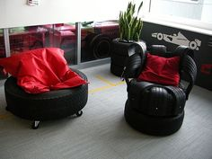 Furniture made from #recycled tyres. I love it!