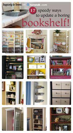 17 Speedy Ways to Update a Boring Bookshelf Home Decor Furniture, Furniture Projects, Furniture Makeover, Home Projects, Home Crafts, Diy Home Decor, Decor Crafts, Room Maker, Bookshelf Design