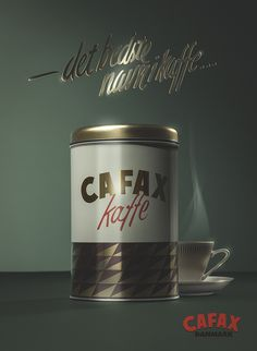 """Vintage themed coffee ad by Lars Brandt Stisen. The slogan in Danish reads """"the best name in coffee"""".  #vintage #retro #coffee #tin #poster #50s #60s #advertising #product #old #beverage #brass #lettering #maddocman #stisen #berlin #cafax"""