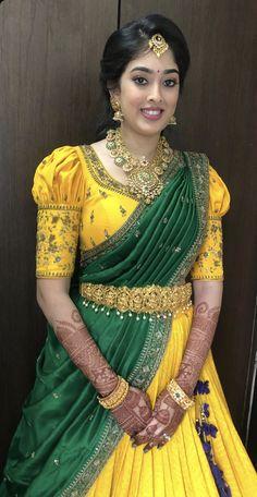 New Saree Blouse Designs, Cutwork Blouse Designs, Half Saree Designs, Simple Blouse Designs, Bridal Blouse Designs, Half Saree Lehenga, Lehenga Saree Design, Wedding Lehenga Designs, Party Wear Indian Dresses
