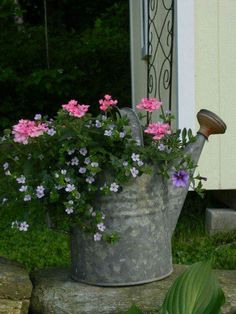 Flower Garden Front Porch Flower Planter Ideas 46 - While it might seem little and insignificant, styling your front porch can greatly raise the value of your house. The front porch actually will be helpful for giving the most effective first impres… Container Flowers, Flower Planters, Container Plants, Garden Planters, Container Gardening, Flower Pots, Flower Ideas, Fairy Gardening, Potager Garden