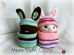 PLEASE NOTE YOU ARE NOT PURCHASING A FINISHED ITEM!!!!!!!!!!  NO REFUNDS WILL BE ISSUED ONCE THE PATTERN IS SENT  Easter Buddy-Bunnies are ready to hop onto your hook! They fit perfect in their cozy little eggs and are just the right size for Easter baskets too! They are fun to make, and look great in any color! Have fun, be creative, and get ready to crochet!  The pattern is written in English, using US crochet terminology. I included detailed instructions, many step-by-step photos and…