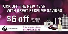 This Week's Great Perfume Savings - Save $6 on Orders Over $40  Enter Coupon Code: SAVINGS2013 at www.perfume.com