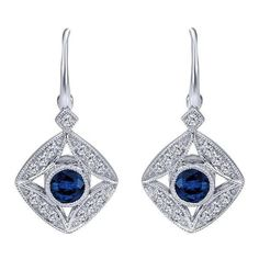 Blue Sapphire and 1/4cttw Diamond Vintage Style Drop Earrings