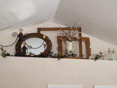 Image result for vaulted ceiling ledge decorating ideas High Shelf Decorating, Plant Ledge Decorating, Foyer Decorating, Decorating Ideas, Decor Ideas, Interior Decorating, Room Ideas, Foyer Ideas, Alcove Decor