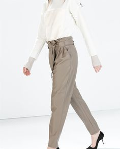 Image 1 of FAUX LEATHER TIE-WAIST TROUSERS from Zara