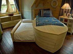 Children's room, nautical, boat bed, boys room, custom bed
