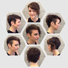 Asymetric all over.shaved side, hairline, and top length on curly hair. by jaime phillips Shaved Curly Hair, Undercut Curly Hair, Dyed Curly Hair, Half Shaved Hair, Curly Hair Cuts, Short Hair Cuts, Curly Hair Styles, Pixie Cuts, Short Curly Weave Hairstyles