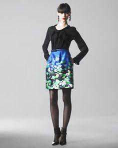 Oscar de la Renta Silk Blouse & Floral-Print Silk-Mikado Skirt 2012