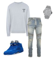 """Untitled #379"" by aintdatjulian on Polyvore featuring Moschino, Balmain, NIKE, Hublot, men's fashion and menswear"