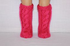 18 inch doll clothes, hand knit socks to fit dolls, deep pink doll cable socks, by UpbeatPetites on Etsy