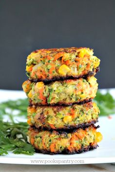 Crispy, easy veggie cakes made with grated vegetables – carrots, zucchini, broccoli and corn. Great for lunches, side dish or your small picky eaters. Fluffy Vegetable Cakes perfect for a side or a Meatless Monday meal Tasty Vegetarian Recipes, Good Healthy Recipes, Whole Food Recipes, Diet Recipes, Cooking Recipes, Red Lentil Recipes, Vegetarian Meals For Kids, Carrot Recipes, Healthy Vegetarian Recipes