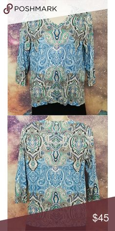 $5 Flash Sale Blue Paisley Shirt 3/4 Sleeves Excellent Condition Size 0 Chico's Tops Tees - Long Sleeve