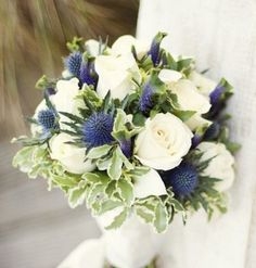 Floral Arrangement ~ white Roses blue flowers