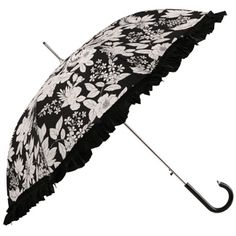 Folia Black Floral Frilled Ladies Umbrella by Pasotti