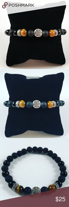 "Men celtic knot tiger eye lava rock bracelet FREE GIFT WITH EVERY PURCHASE !! LET ME KNOW IF YOU WANT MEN OR WOMEN GIFT WHEN PURCHASING Men beaded bracelet. Fits most , 7.5 to 8.5 inch wrist. Handmade by me . Made with 8mm black lava rock / volcano beads , Tiger eye and Onyx .  Silver plated celtic knot bead designs and deco charms  .I ship fast!!✈️Bundle & save !Any questions let me know ! No transactions outside Posh !!  2 for $25!! All Items marked with the fox """" emoji are 2 for $25 just…"