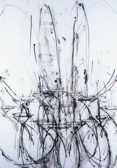 """Daniel Schneider, Chandelier Series. 24"""" x 36"""", ink on mylar."""