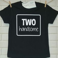 """We love custom requests! This """"TWO handsome"""" design was a special request variation from our """"TWO cool"""" design! 2nd birthdays are so much fun!! Request yours at: www.happybrooke.com www.facebook.com/happybrooke"""