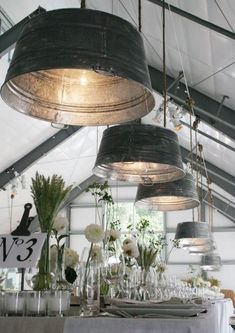 Repurposed Kitchen Items - old aluminum wash basins turned into light pendents