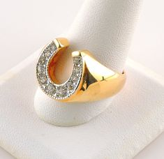 This ring is in great shape. It is a size 9 with a wide band on the bottom x wide on the top. Horseshoe Ring, Gold Rings, Plating, Wedding Rings, Engagement Rings, Band, Etsy, Jewelry, Enagement Rings
