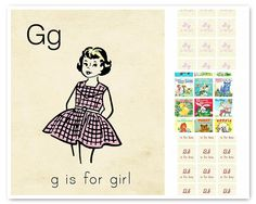 vintage flashcards free printables - g is for girl & b is for boy