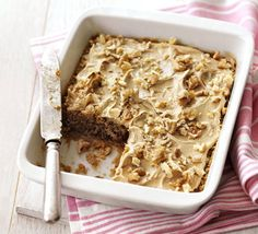 Microwave Coffee & Walnut Cake With Butter, Golden Caster Sugar, Eggs, Self Rising Flour, Instant Coffee, Walnut Pieces, Instant Coffee, Milk, Butter, Powdered Sugar