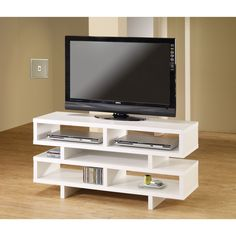 Coaster Company Wood TV Console (White Finish), Black