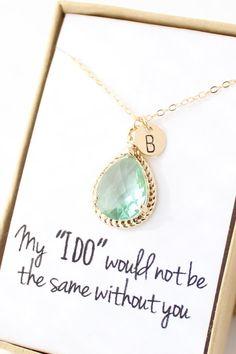 Prasiolite Green / Gold Bridesmaid Necklace - Personalized Bridesmaid Necklace - Bridesmaid Gift - Light Mint Bridesmaid Jewelry - NR1