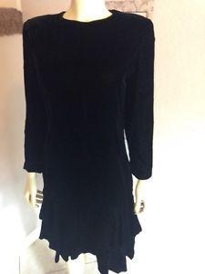 Vintage Ricki Lang for Nuit Black Velvet Dress Crystals Back Cut Out Holiday 12 | eBay